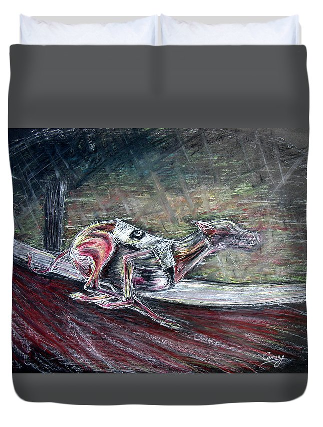 Dog Duvet Cover featuring the drawing Greyhound Number Three by Tom Conway