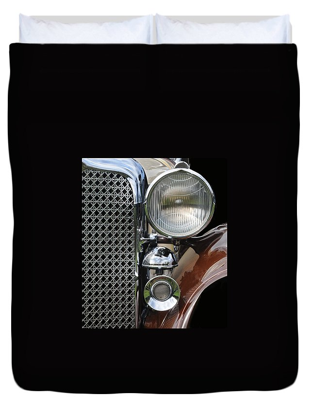 Car Duvet Cover featuring the photograph Grill And Headlight by Dave Mills