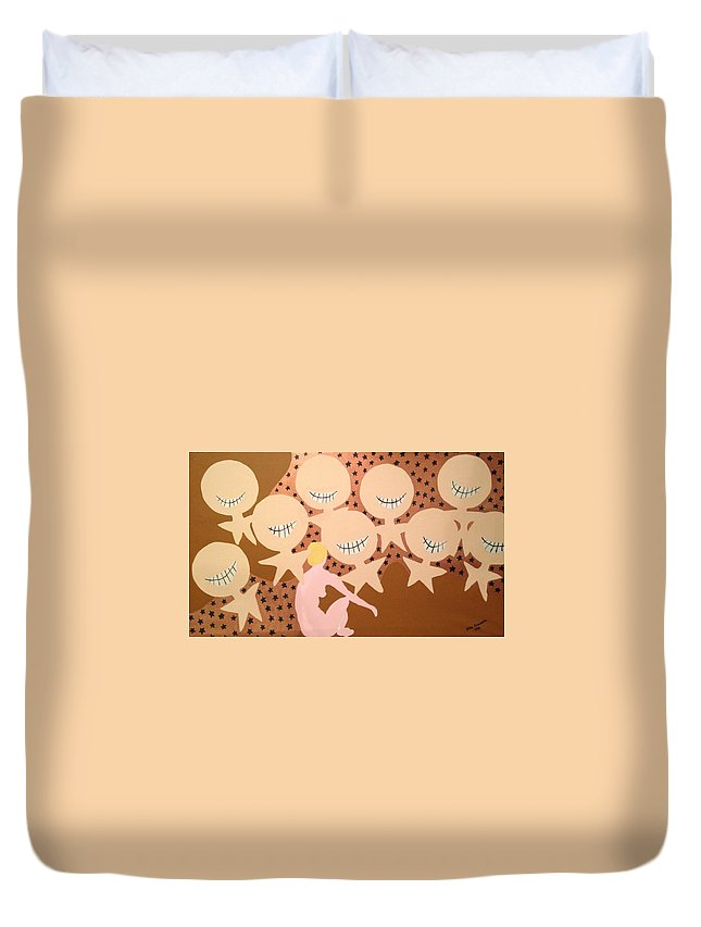 Grin Duvet Cover featuring the painting Grin by Erika Chamberlin