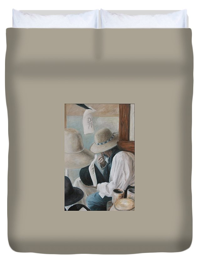 Hats Duvet Cover featuring the painting Griz The Hatter by Nik English