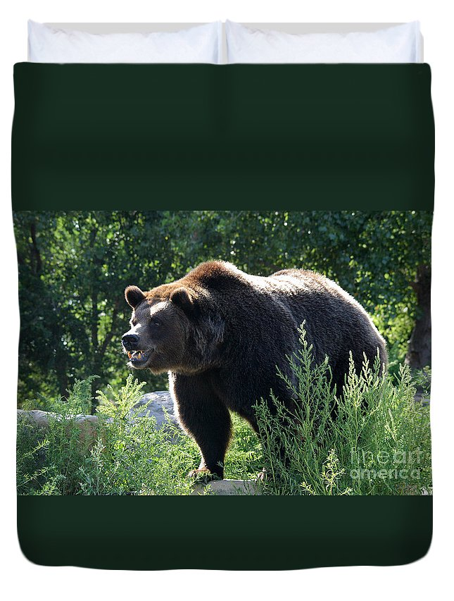 Animal Duvet Cover featuring the photograph Grizzly-7756 by Gary Gingrich Galleries