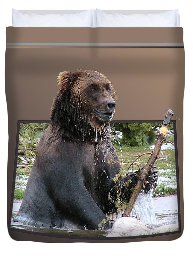 Animals Duvet Cover featuring the photograph Grizzly Bear 6 Out Of Bounds by Thomas Woolworth