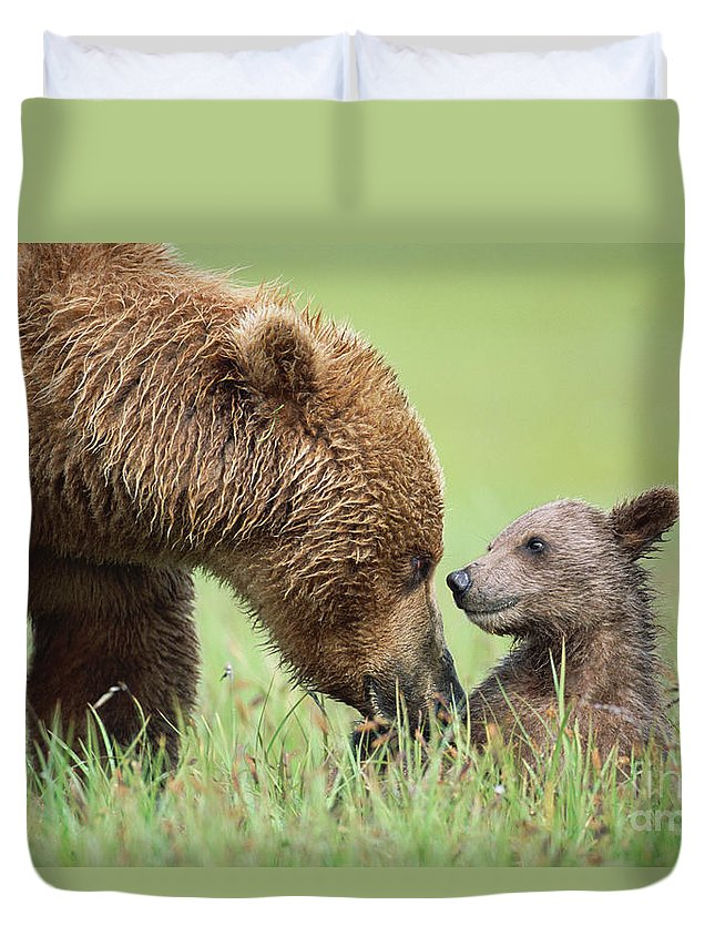 00345260 Duvet Cover featuring the photograph Grizzly Bear And Cub in Katmai by Yva Momatiuk John Eastcott