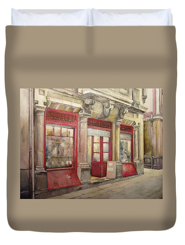 Grocery Store Duvet Cover featuring the painting Grocery Store in Old Town by Tomas Castano