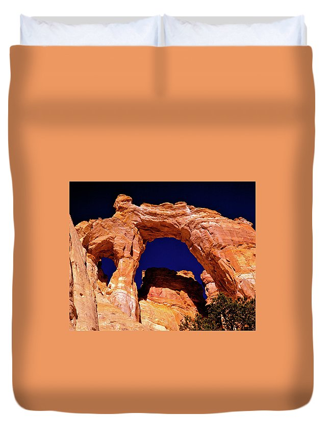Arch Duvet Cover featuring the photograph Grosvenor Arch Sunset Kodachrome Basin by Ed Riche