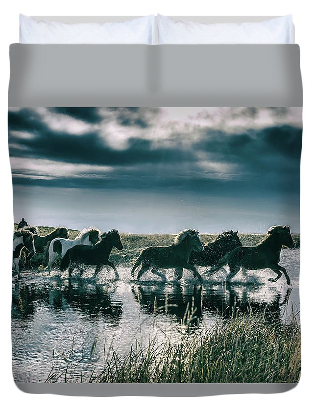 Horse Duvet Cover featuring the photograph Group Of Horses Crossing A River by Arctic-images