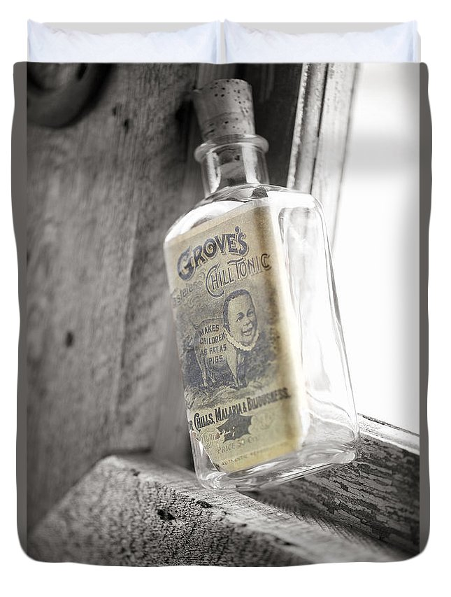 Bottle In Window Duvet Cover featuring the photograph Grove's Tonic by Erika Weber