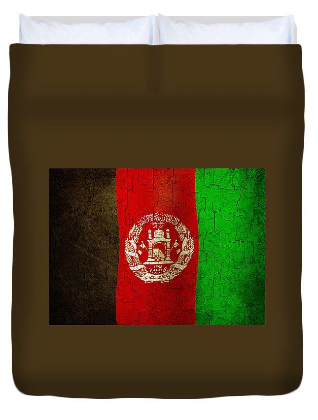 Aged Duvet Cover featuring the digital art Grunge Afghanistan Flag by Steve Ball