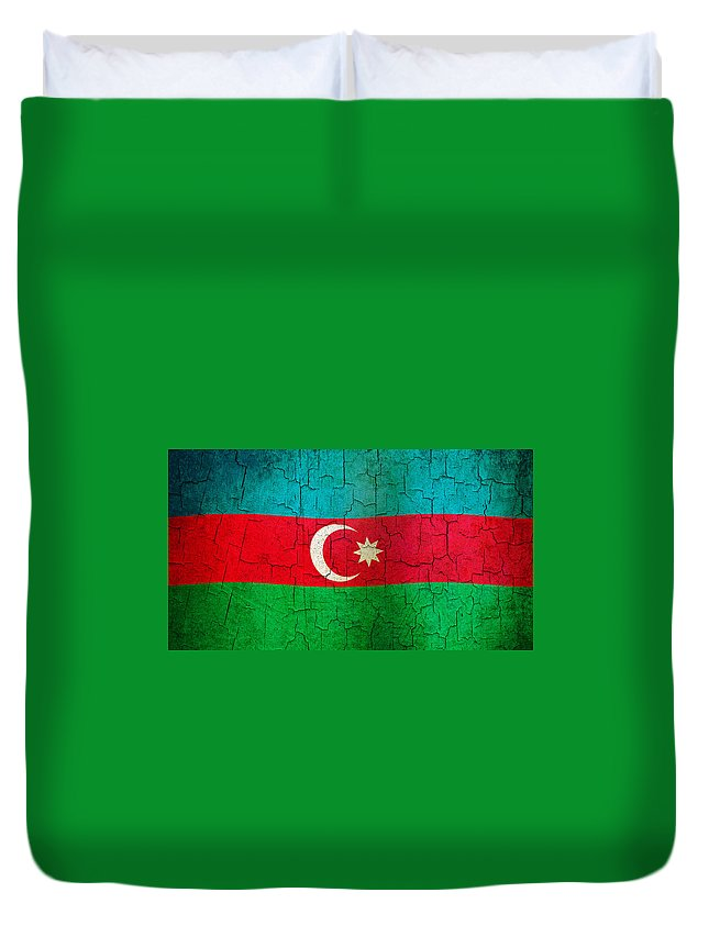 Aged Duvet Cover featuring the digital art Grunge Azerbaijan Flag by Steve Ball