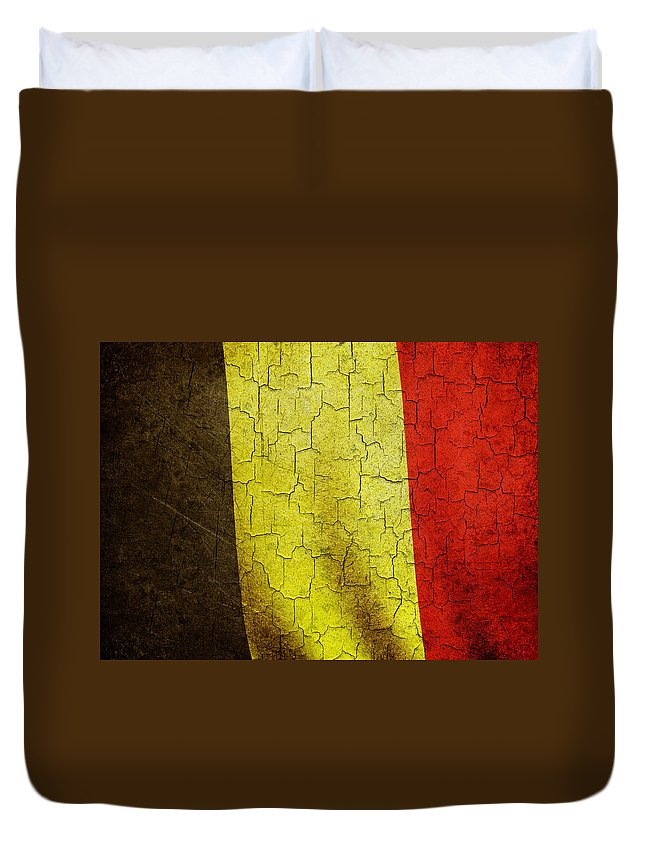 Aged Duvet Cover featuring the digital art Grunge Belgium Flag by Steve Ball