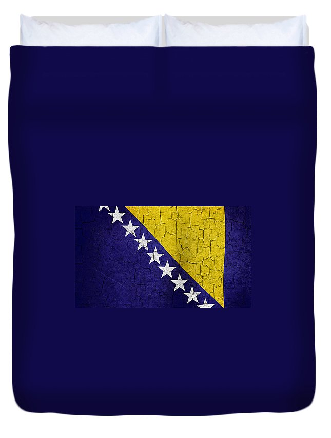 Aged Duvet Cover featuring the digital art Grunge Bosnia And Hertzegoniva Flag by Steve Ball