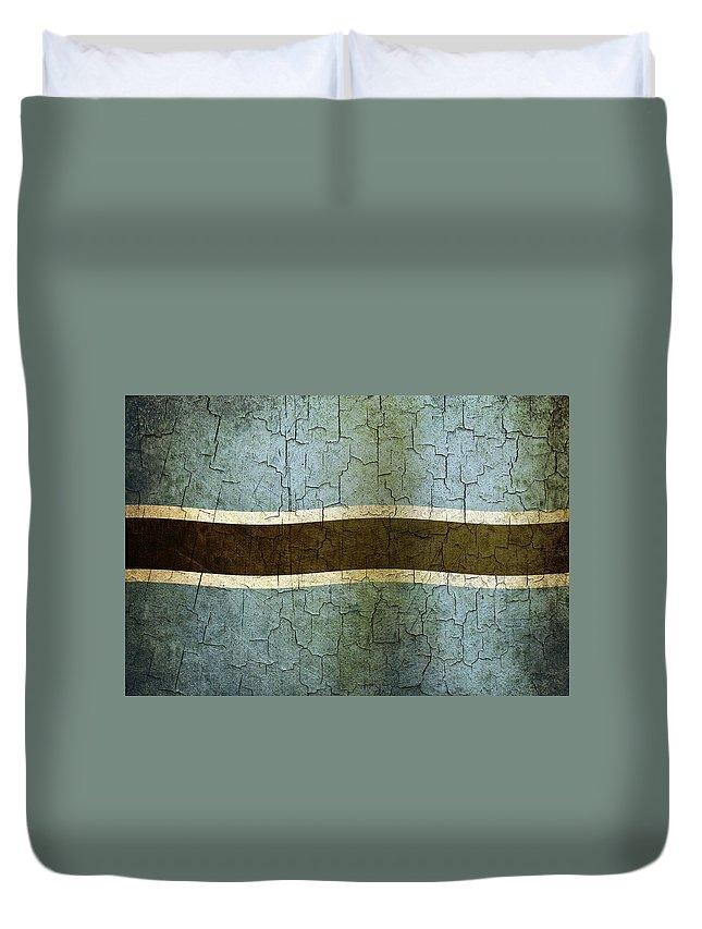 Aged Duvet Cover featuring the digital art Grunge Botswana Flag by Steve Ball