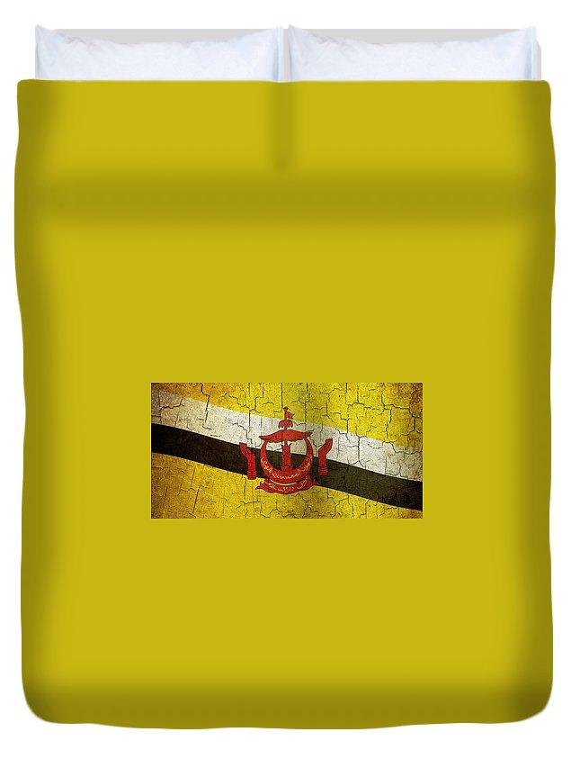 Aged Duvet Cover featuring the digital art Grunge Brunei Flag by Steve Ball