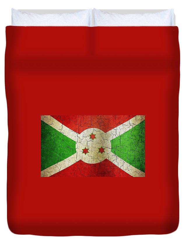 Aged Duvet Cover featuring the digital art Grunge Burundi Flag by Steve Ball