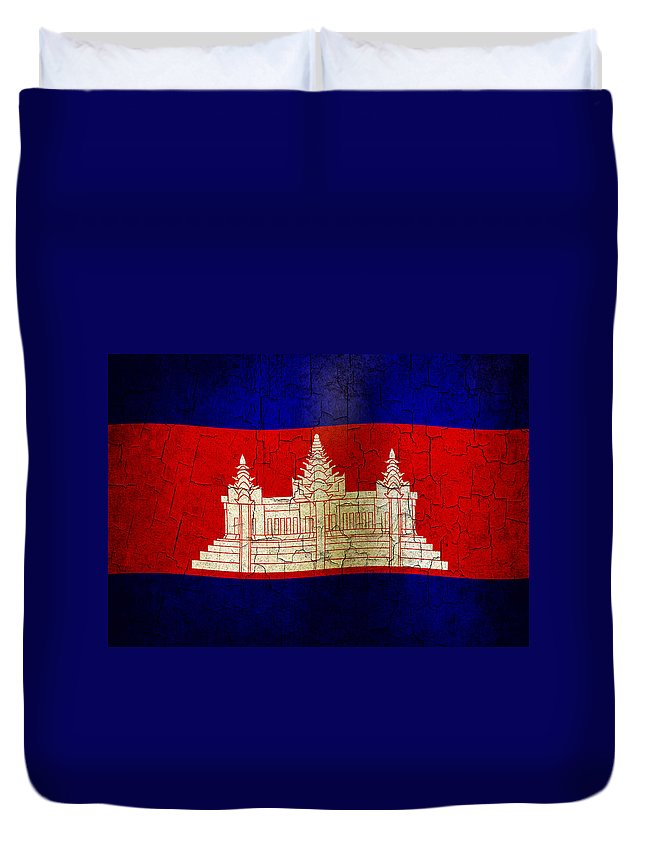 Aged Duvet Cover featuring the digital art Grunge Cambodia Flag by Steve Ball