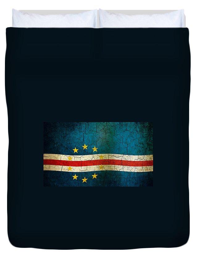 Aged Duvet Cover featuring the digital art Grunge Cape Verde Flag by Steve Ball