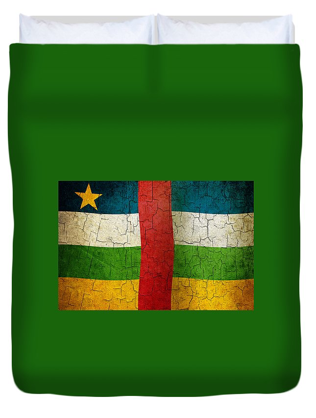 Aged Duvet Cover featuring the digital art Grunge Central African Republic Flag by Steve Ball