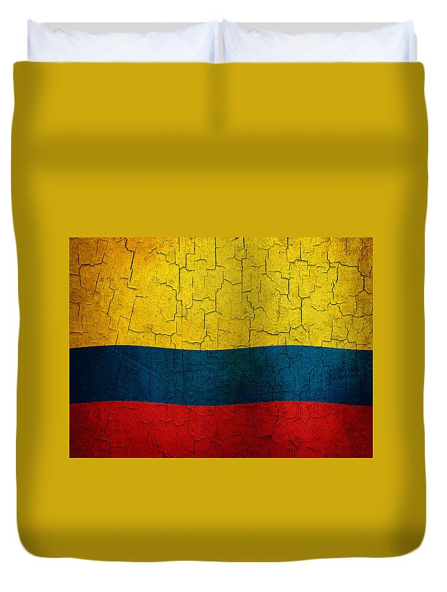 Aged Duvet Cover featuring the digital art Grunge Colombia Flag by Steve Ball