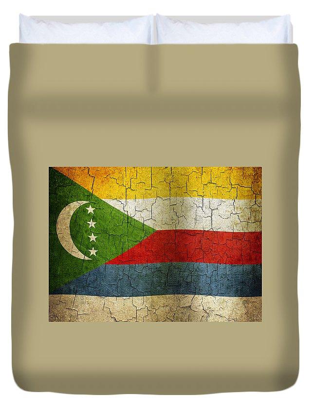Aged Duvet Cover featuring the digital art Grunge Comoros Flag by Steve Ball