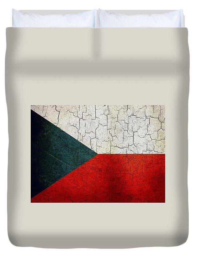 Aged Duvet Cover featuring the digital art Grunge Czech Republic Flag by Steve Ball