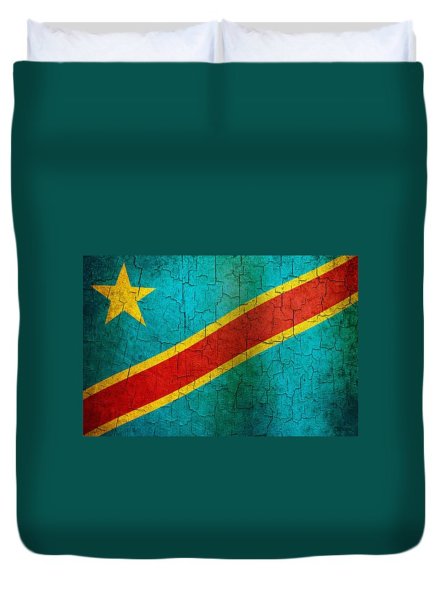 Aged Duvet Cover featuring the digital art Grunge Democratic Republic Of The Congo Flag by Steve Ball