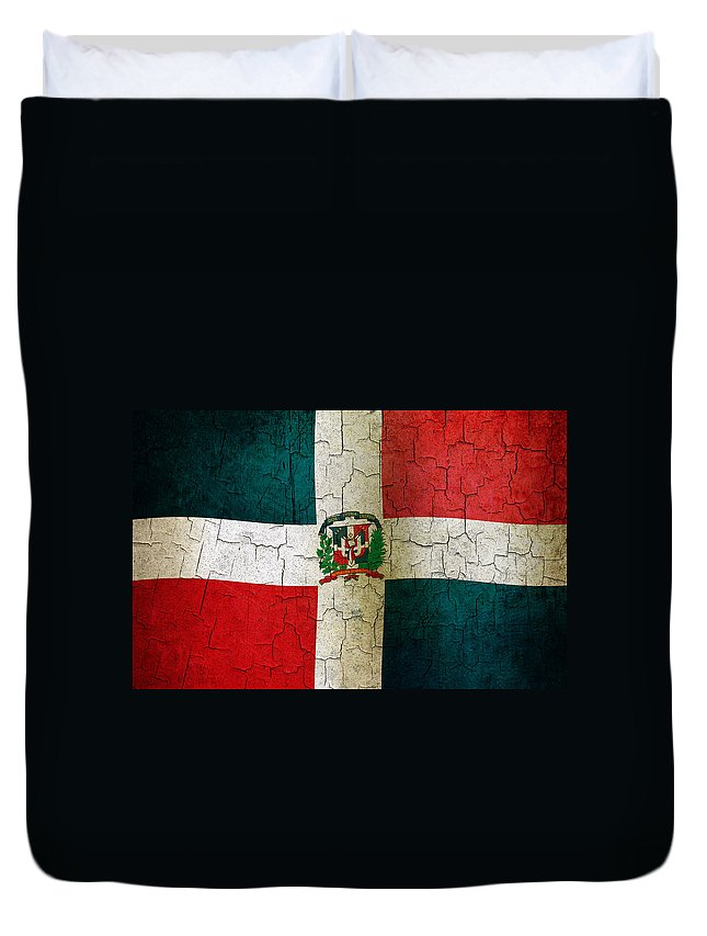 Aged Duvet Cover featuring the digital art Grunge Dominican Republic Flag by Steve Ball