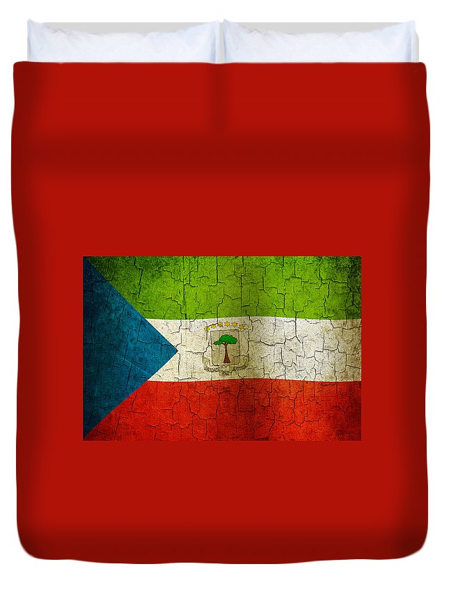 Aged Duvet Cover featuring the digital art Grunge Equatorial Guinea Flag by Steve Ball