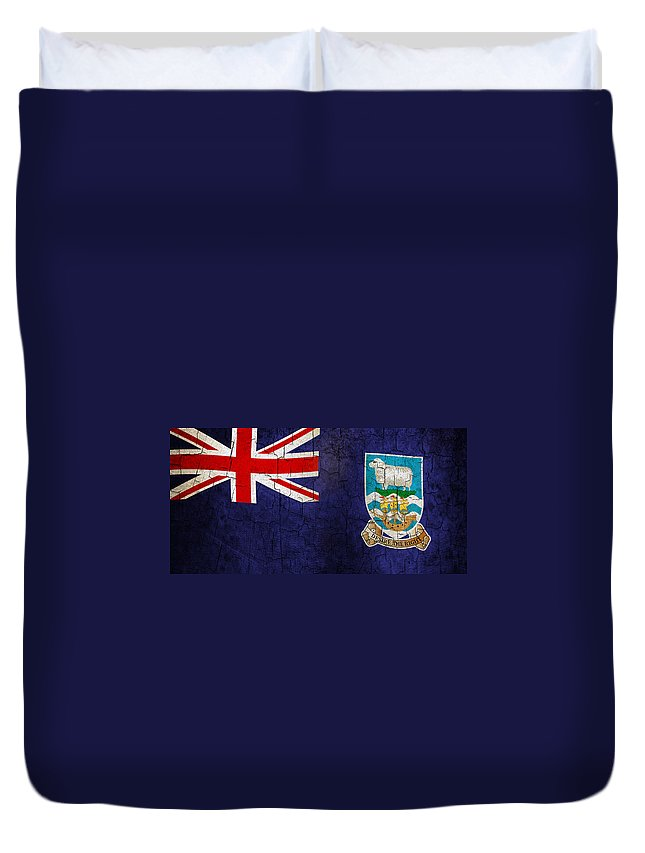 Aged Duvet Cover featuring the digital art Grunge Falkland Islands Flag by Steve Ball