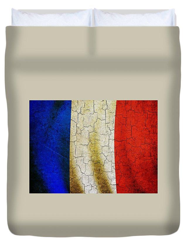 Aged Duvet Cover featuring the digital art Grunge France Flag by Steve Ball