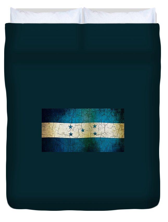 Aged Duvet Cover featuring the digital art Grunge Honduras Flag by Steve Ball