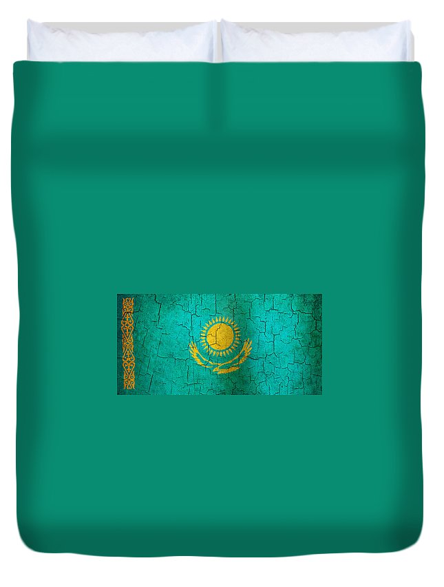 Aged Duvet Cover featuring the digital art Grunge Kazakhstan Flag by Steve Ball