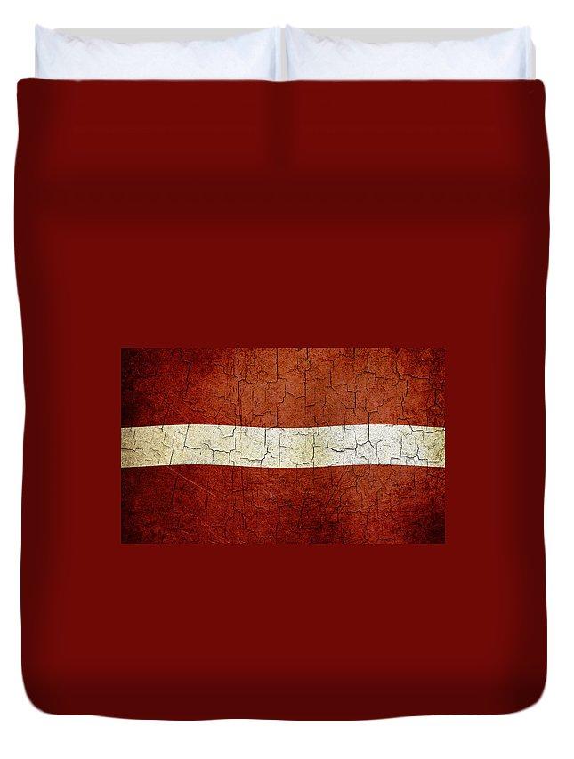 Aged Duvet Cover featuring the digital art Grunge Latvia Flag by Steve Ball