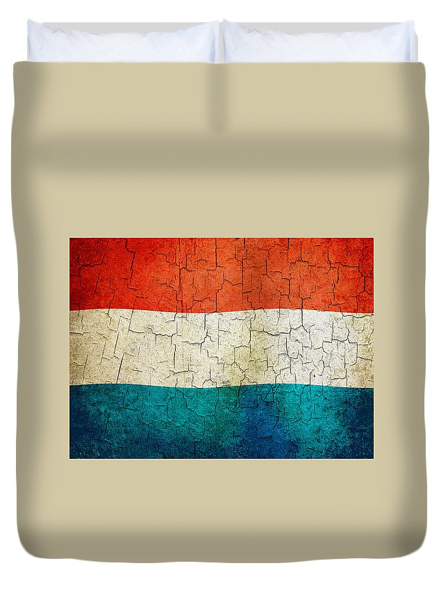 Aged Duvet Cover featuring the digital art Grunge Luxembourg Flag by Steve Ball