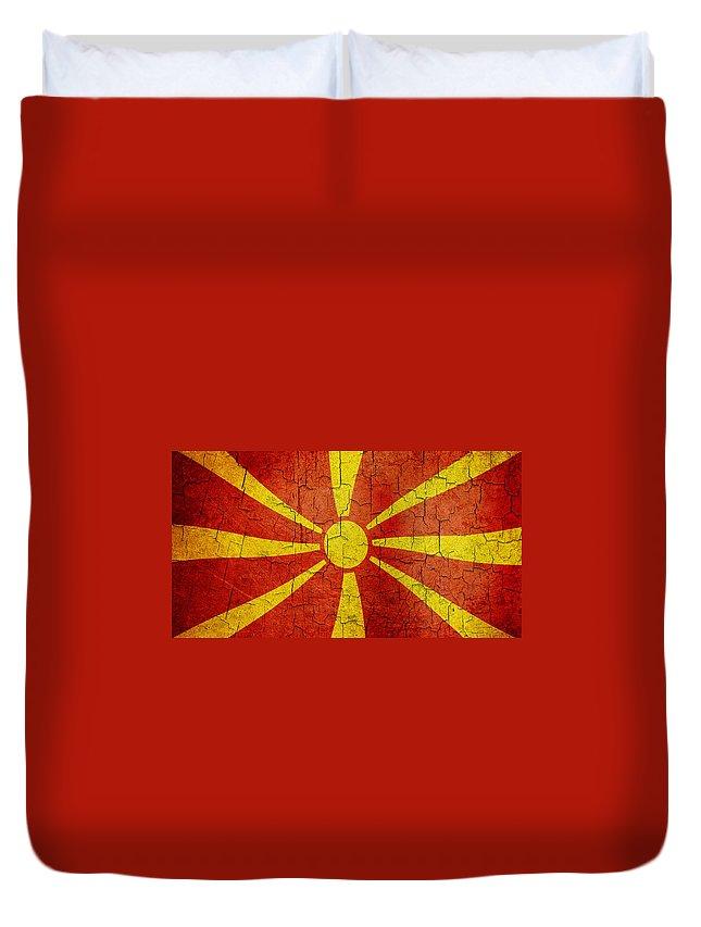 Aged Duvet Cover featuring the digital art Grunge Macedonia Flag by Steve Ball