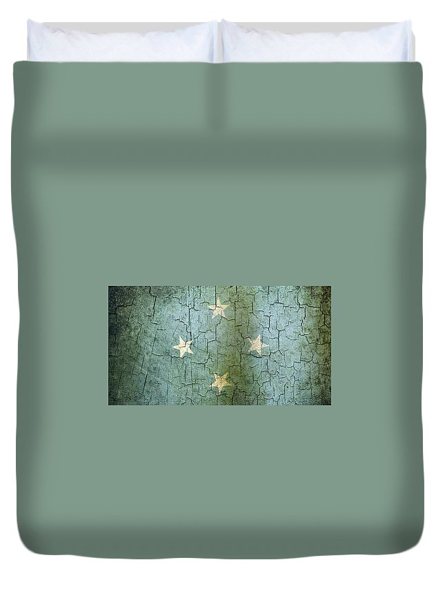 Aged Duvet Cover featuring the digital art Grunge Micronesia Flag by Steve Ball