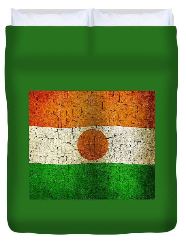 Aged Duvet Cover featuring the digital art Grunge Niger Flag by Steve Ball