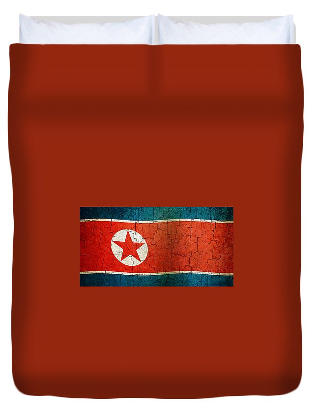 Aged Duvet Cover featuring the digital art Grunge North Korea Flag by Steve Ball