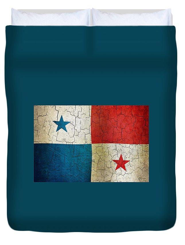 Aged Duvet Cover featuring the digital art Grunge Panama Flag by Steve Ball