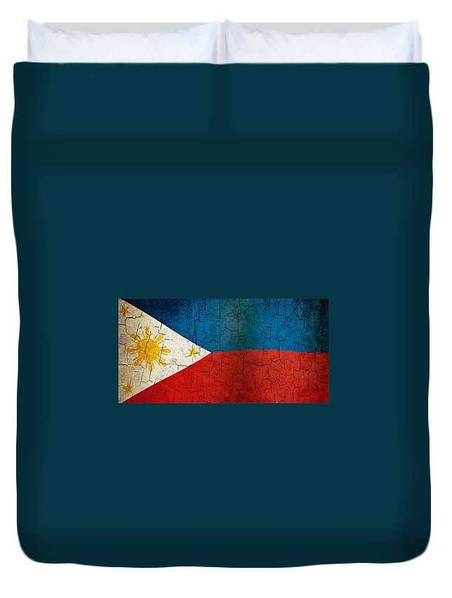 Aged Duvet Cover featuring the digital art Grunge Philippines Flag by Steve Ball
