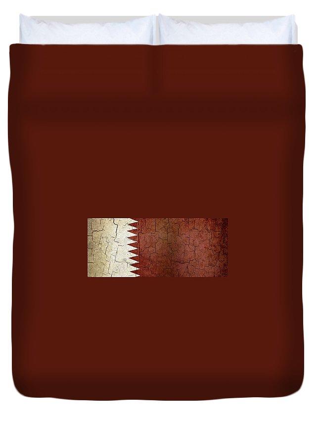 Aged Duvet Cover featuring the digital art Grunge Qatar Flag by Steve Ball