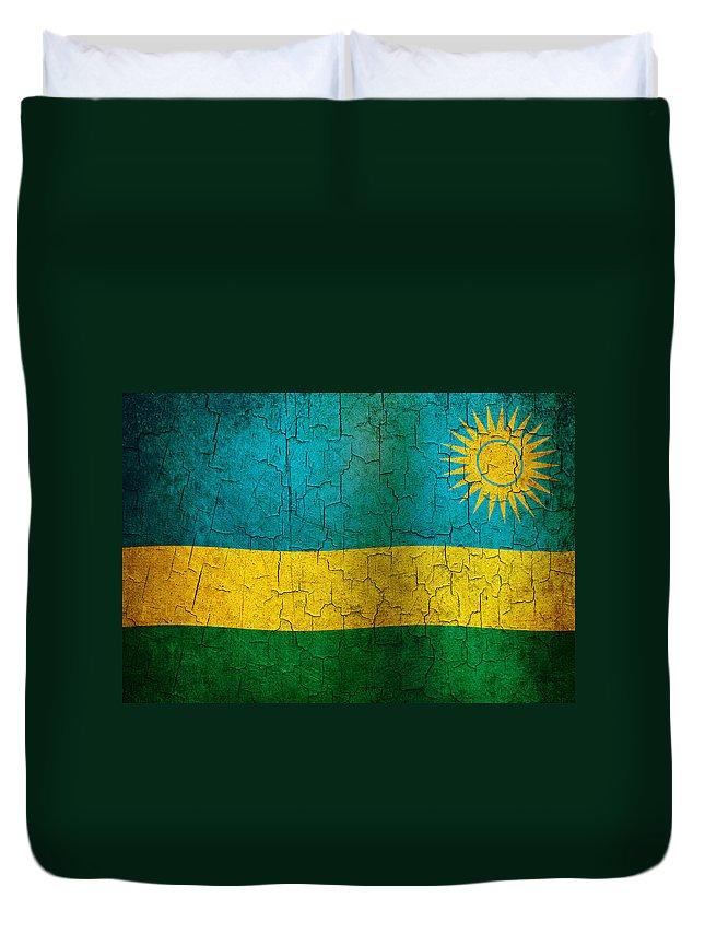 Aged Duvet Cover featuring the digital art Grunge Rwanda Flag by Steve Ball