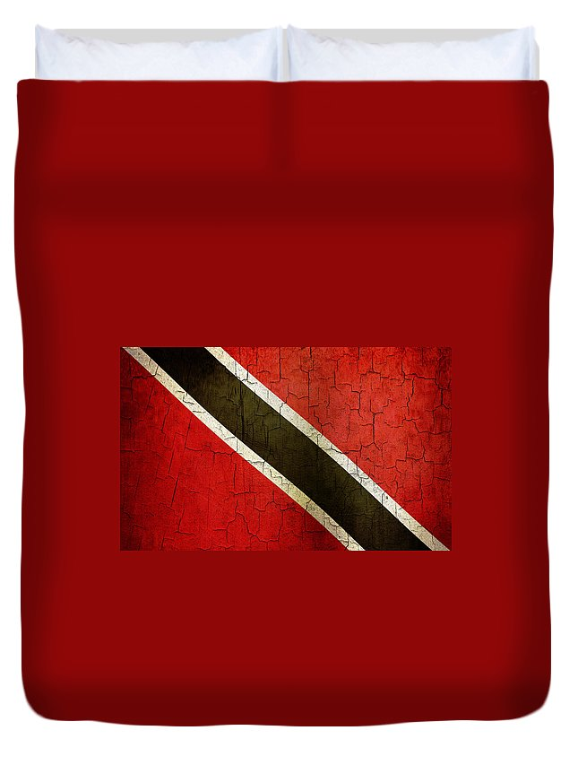 Aged Duvet Cover featuring the digital art Grunge Trinidad And Tobago Flag by Steve Ball