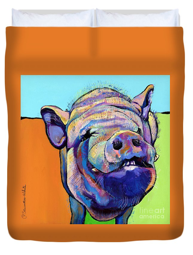 Pat Saunders-white Canvas Prints Duvet Cover featuring the painting Grunt  by Pat Saunders-White