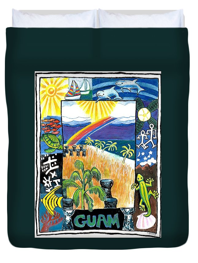 Guam Duvet Cover featuring the painting Guam by Genevieve Esson