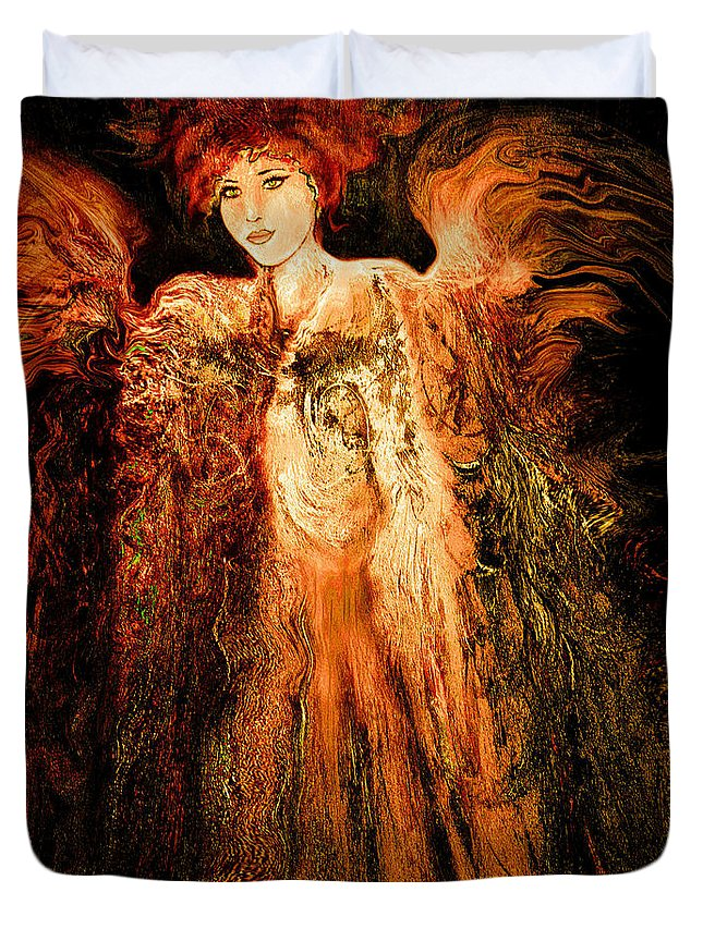 Angel Duvet Cover featuring the mixed media Guardian Angel by Natalie Holland