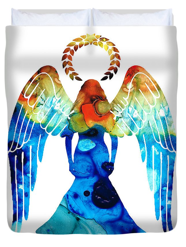 Guardian Duvet Cover featuring the painting Guardian Angel - Spiritual Art Painting by Sharon Cummings