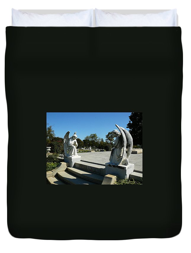 Virginia Duvet Cover featuring the photograph Guardian Angels by Two Bridges North