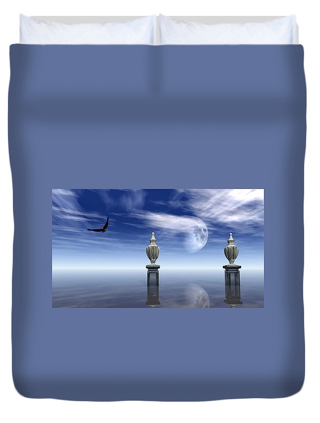 Seascape Duvet Cover featuring the digital art Guardians Of The Earth by Georgiana Romanovna