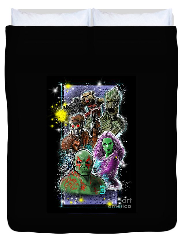 Guardias Galaxy Movie Zoe Salda�a Batista Fan Art Ink Painting Duvet Cover featuring the digital art Guardians Of The Galaxy by Tommy Villarreal