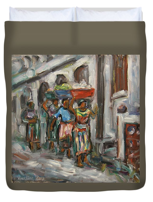 Mayan Duvet Cover featuring the painting Guatemala Impression V - Left Hand 1 by Xueling Zou